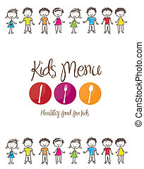 Kids menu - banner of Kids menu with cutlery and children...