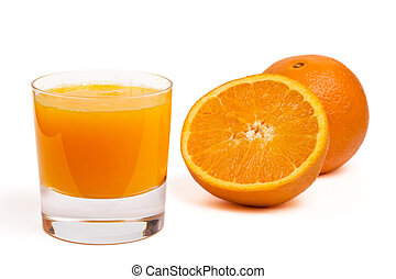 glass of orange juice and fruit, isolated
