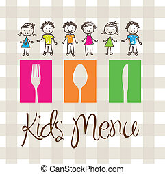 Kids menu - banner of Kids menu with cutlery and children
