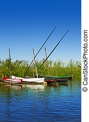 Albufera channel boats in el Palmar of Valencia Spain