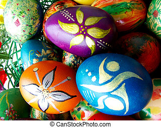 Easter eggs - Beautiful painted easter eggs on a colorful...