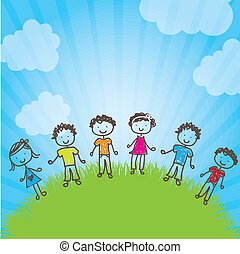 Children - many happy children in a natural vector...
