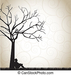 Landscape - silhouette of a pensive man under a tree vector...