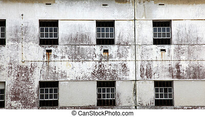 Prison windows - The windows of an abandoned prison in...