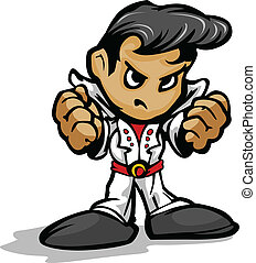 Tough Guy Rock Star with White Jumpsuit Vector Graphic -...