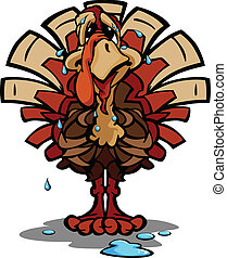 Nervous Thanksgiving Holiday Turkey Cartoon Vector Illustration