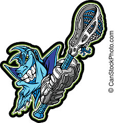Blue Demon Mascot Holding Lacrosse Stick Vector Illustration
