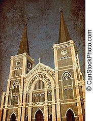 Old grunge photo of catholic church