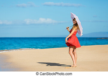Beautiful Woman Walking on Tropical Beach - Beautiful Young...