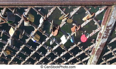 lovers locks on old bridge