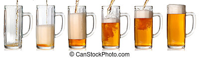 Pouring beer 43 Mpxls - Beer mug isolated on white Pouring...