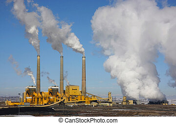 Coal Power Plant - Coal Power Plant emitting pollution. with...
