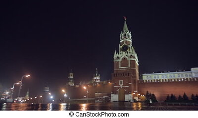 Night Red Square pan - Night Red Square Kremlin St. Basil's...