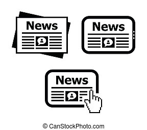 Newpaper, news on tablet icons set - Black icons set - news...