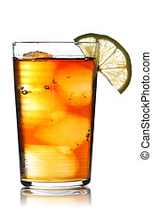Iced tea with lemon isolated on white. Soft reflection.