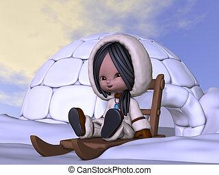 Toon Eskimo - 3D Render of an Toon Eskimo