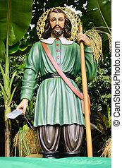 San Isidro Labrador - Statue of San Isidro Labrador, a...