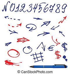 Numbers and symbols (arrows) set - Numbers and symbols...