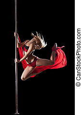Woman jump during pole dance with fabric - Beauty Woman jump...