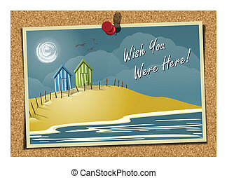 Beach Postcard On Noticeboard 1 - Vector illustration of a...