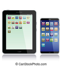 tablet pc and smart phone - portrait view illustration of a...
