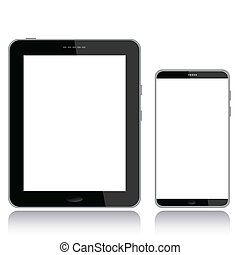 tablet-pc-and-smart-phone - portrait view illustration of a...