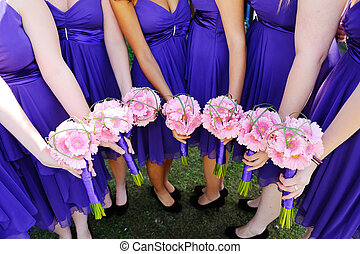 Bridesmaids flowers - Bridesmaids pink flowers at wedding