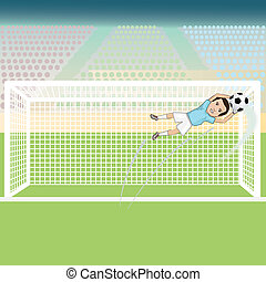 soccer-goalie-save - illustration of a goal keeper saving a...