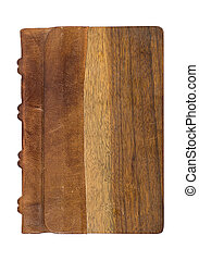 precious book with a noble leather and wooden cover