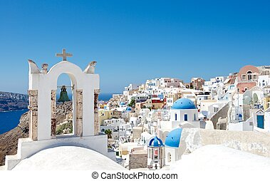 City blue domes - Architecture Greek cities very...