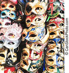 Carnival colorful masks detail close up view