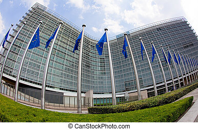 European commission in Brussels - European flags in front of...