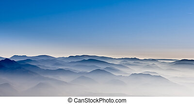 Misty mountain hills misty landscape with foggy hills