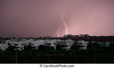tropical thunderstorm skyline of City Antalya Turkey