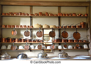 large amount copper cookware