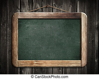 Aged green blackboard hanging on wooden wall as a background...