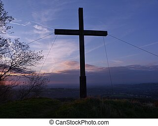 Mellor Cross at Dusk - Mellor Cross overlooking Stockport...