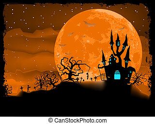 Halloween poster with zombie background EPS 8 vector file...