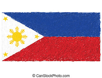 philippine flag - hand drawn illustration of Philippine flag...
