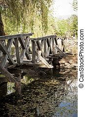 The broken wooden Bridge over troubled Water in Europe