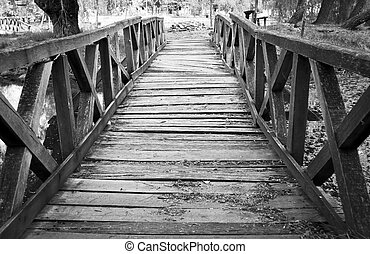 a, quebrada, madeira, ponte, Europa
