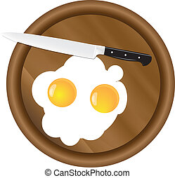 Wooden kitchen board and eggs - Scrambled eggs with two...