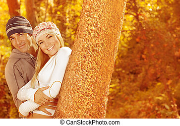 Portrait of family in forest - Picture of two happy people...