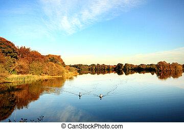 Beatiful lake in Autumn time, Scotland, UK