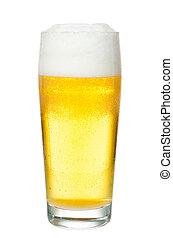 Beer glass filled before white background - a glass filled...
