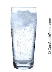 glass with mineral water before white - a glass filled with...
