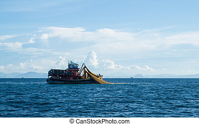 Trawl vessels in Thai ocean