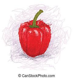 bell-pepper - closeup illustration of a fresh red bell...