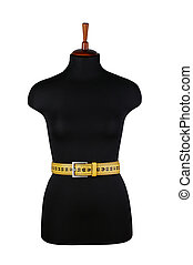 belt for waist measurements and mannequin isolated on white...