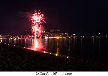 Haliday fireworks salute at night  near sea beach